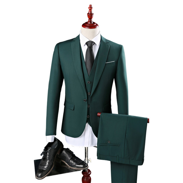 469ebe5c2ad3 Fashion New Men's Army Green Slim Suit Male the groom married Formal Dress  Business Casual work