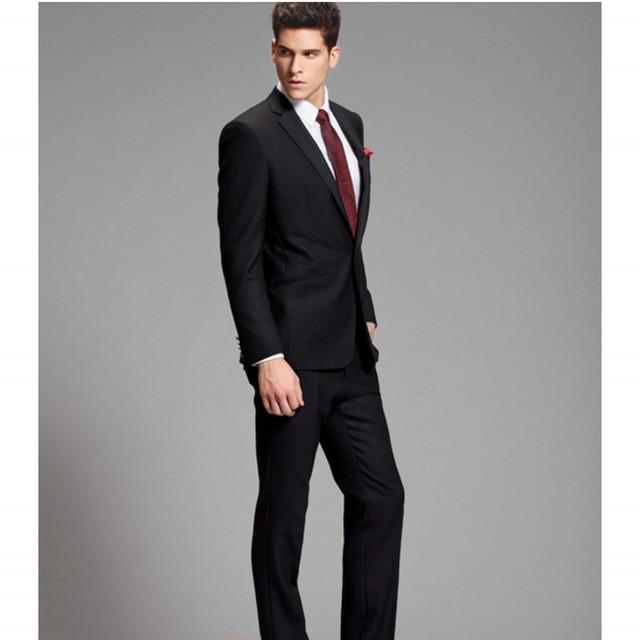Envío Libre Por Encargo Slim Fit Negro Hombres Trajes De Boda Traje de Novio Esmoquin Trajes de Dos Piezas de Los Hombres (Jacket + Pants) Venta Caliente