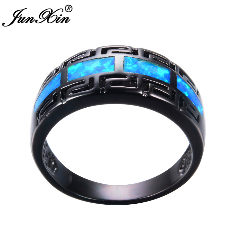 Junxin male female blue fire opal ring black gold filled for Wedding rings for male and female