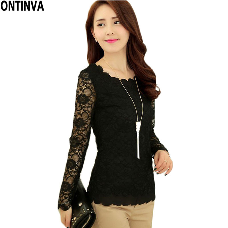 Long Sleeve Lace Women Blouse Plus Size XXL White Black ...
