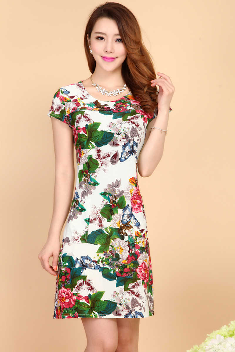 8f0529e41325a L-5XL 2019 Women Dresses Plus Size Slim Tunic Milk Silk Print Floral  Printed Vestido Feminino Loose Casual Dress