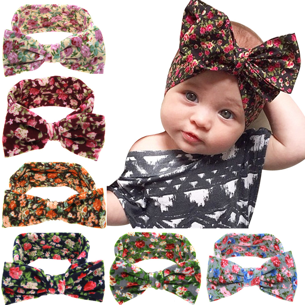 Cute Newborn Baby Pastoral Style Printing Flower Girls Butterfly Knot Elasticity Headbands Children Hair Accessories Hair Bands 13pcs children printing hair rings