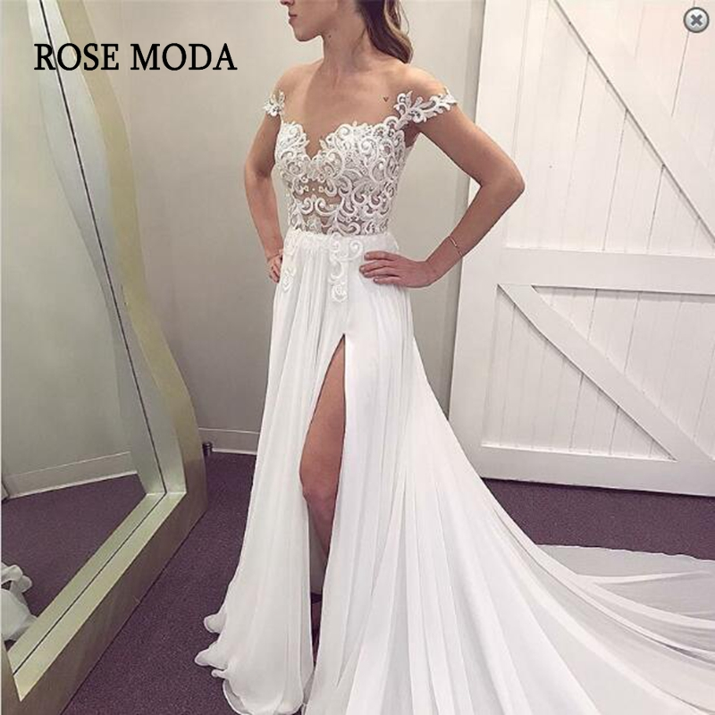 Rose Moda Short Cap Sleeves Chiffon Boho Wedding Dress 2019 with Slit Beach Bridal Dresses with