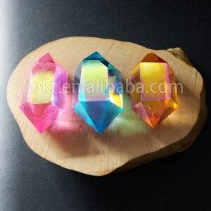 Image 1 - WT G148 Tehlikeli mix renk aqua aura kuvars taş moda çift taraflı aura noktası çift değnek kristal noktası taş toptan için