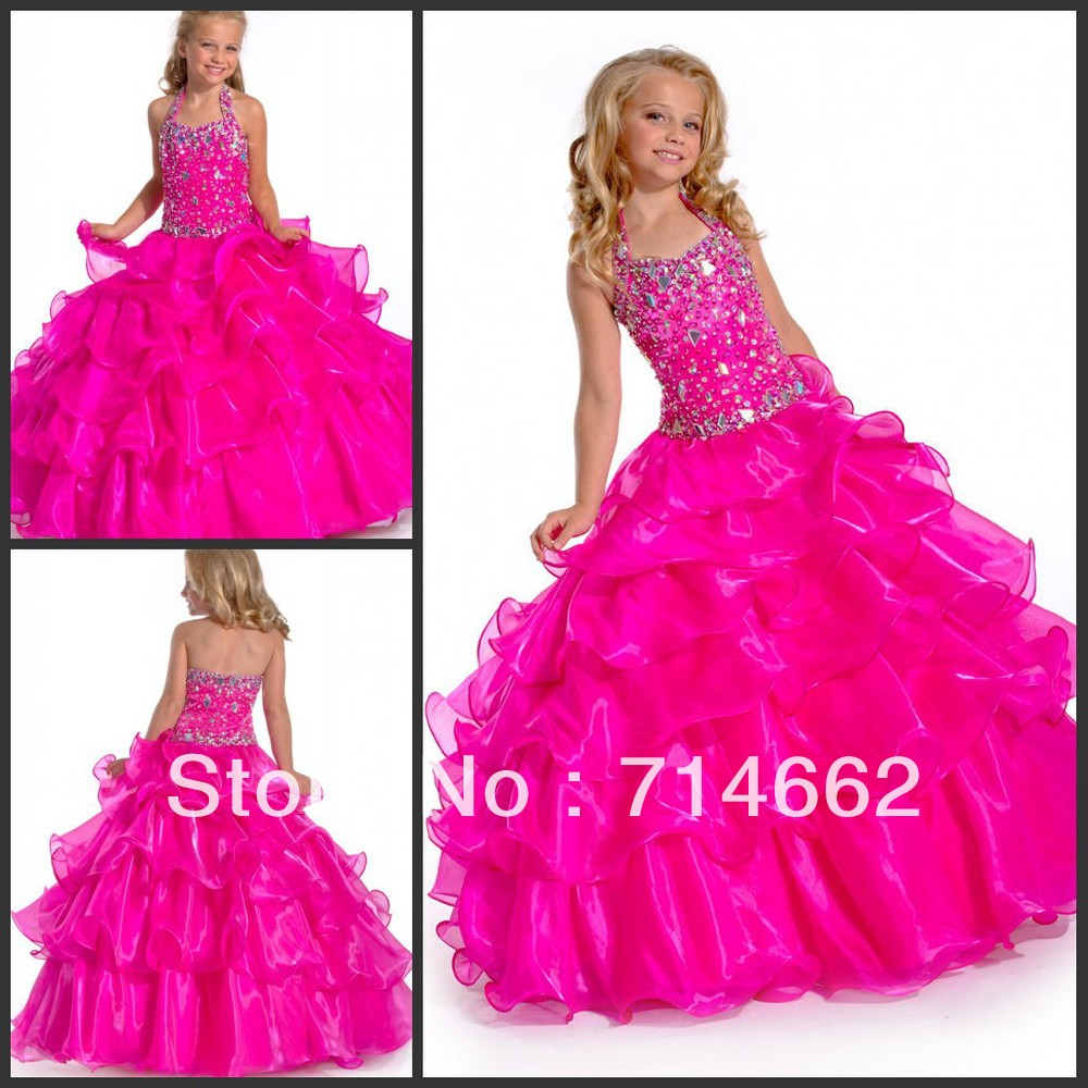 Fancy Rhineston Beading Organza Little Girls Puffy Dresses Long ...
