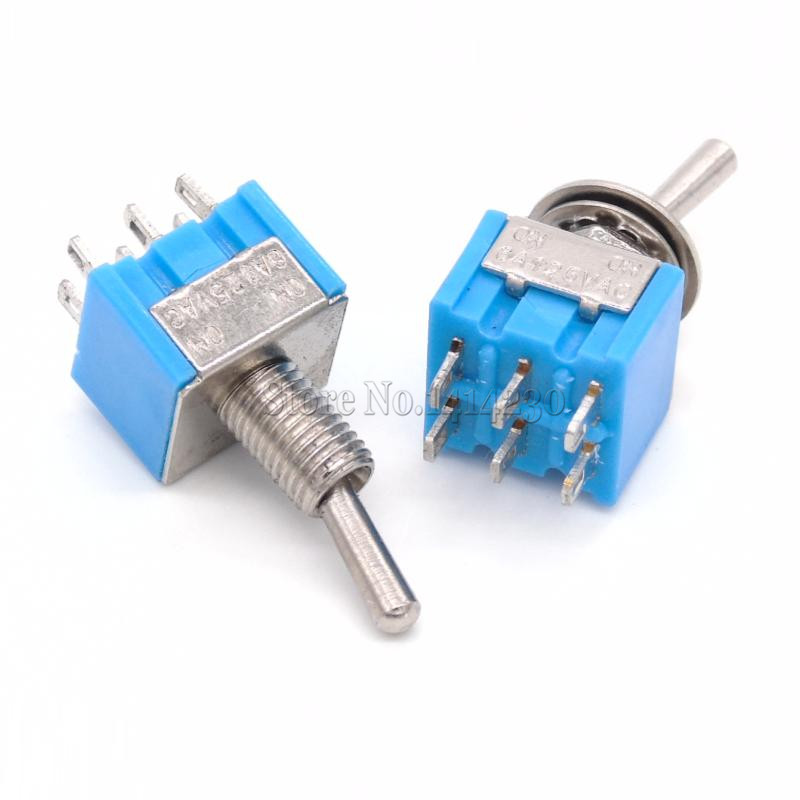 10xMini MTS202 Blue Toggle Switch DPDT Double Pole Double Throw 2 ...