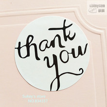 ФОТО 120/lot Round Whitethank you seal sticker cup gift box sticker baking package cake box decoration