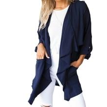 2016 ZANZEA Women Chiffon Long Sleeve Cardigan Outwear Waterfall Jackets Casual Loose Solid Blouses Tops US Plus Szie 4-24