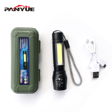 PANYUE XML XPE+COB LED Flashlight Portable Mini ZOOM torch flashlight Rechargeable Waterproof in life & Storage Box panyue usb xml xpe cob led flashlight portable mini zoom torchflashlight waterproof in life lighting
