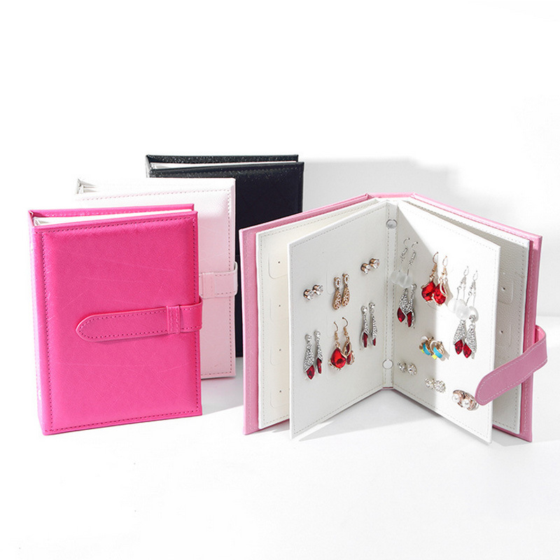 Brand Pu Leather Earrings Storage Box Fashion Women Stud Earrings Display Holder Travel Portable Case Creative Jewelry Packaging