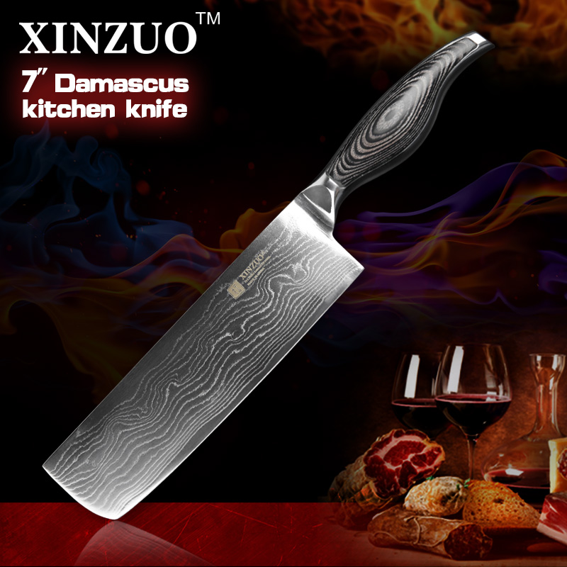 hot 7 inche kitchen font b knives b font Japanese 73 layers VG10 Damascus steel chef