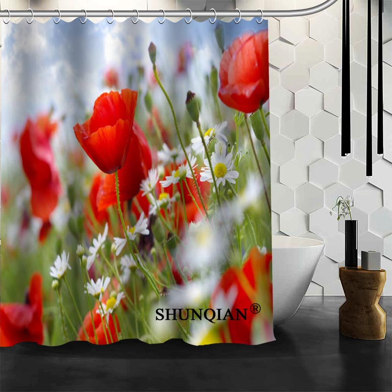 Best Nice Custom Poppies Flowers Poppy Shower Curtain Bath Waterproof Fabric Bathroom MORE SIZE A61 104