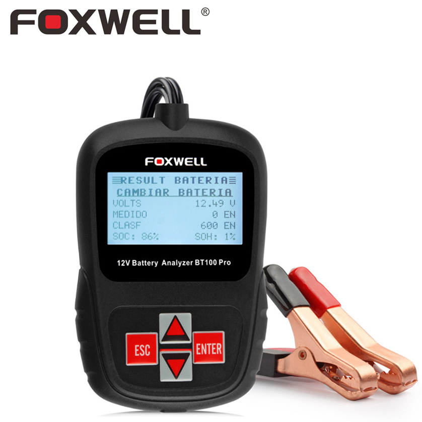 FOXWELL BT100 PRO 6V 12V Car Battery Tester For Flooded AGM GEL Lead-Acid Batteries Digital Auto Analyzer Automotive Test Tool цена и фото