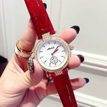 Эксклюзивная Модная Кварцевые Часы Женщины Rhinestone Кожаный Вскользь Платье женские Часы Кристалл mujer reloje 2016 montre femme relojes