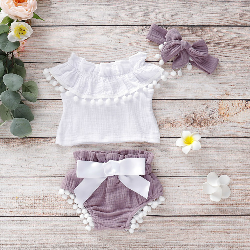 Newborn Baby Girls Off Shoulder Ruffle Tops+shorts Pants Outfits Set Cotton Clothes 3ps