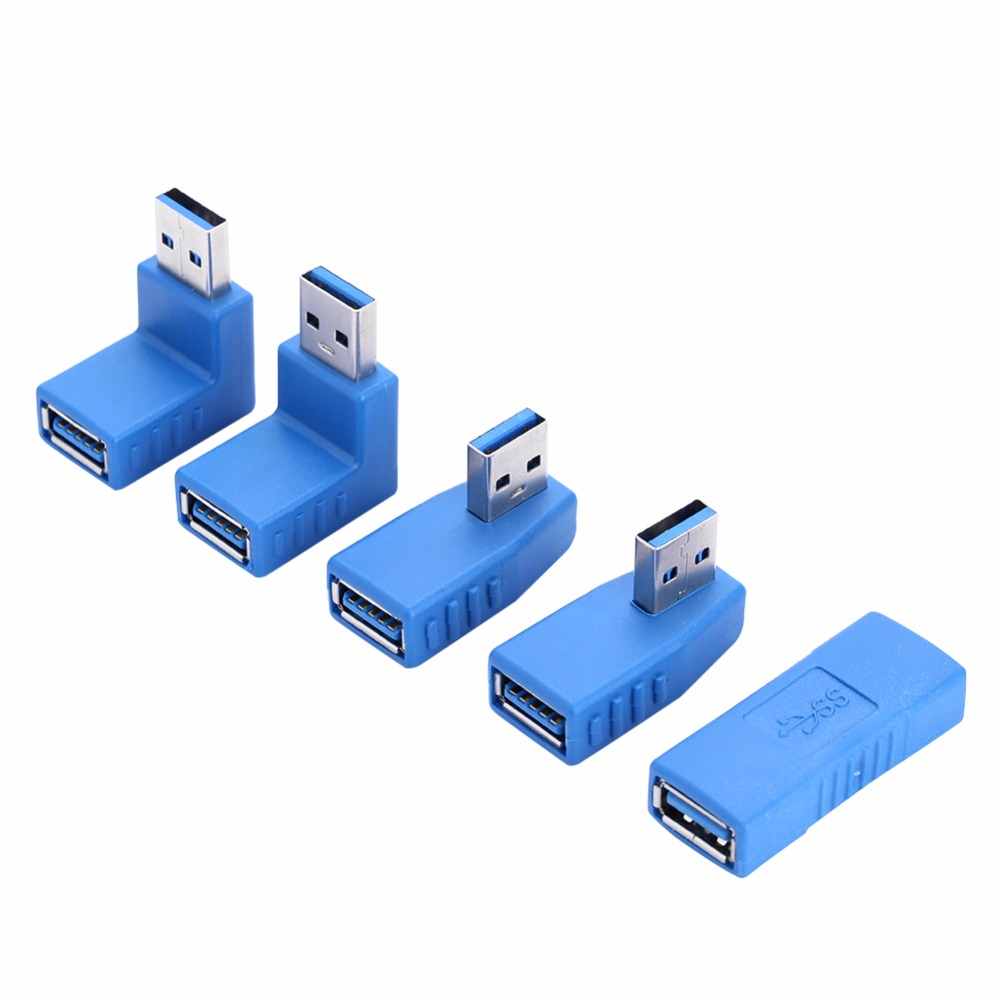 2 Pcs USB 3.0 Type A Male to Female Left Right Up Down Angle Adapter Convertor Cable