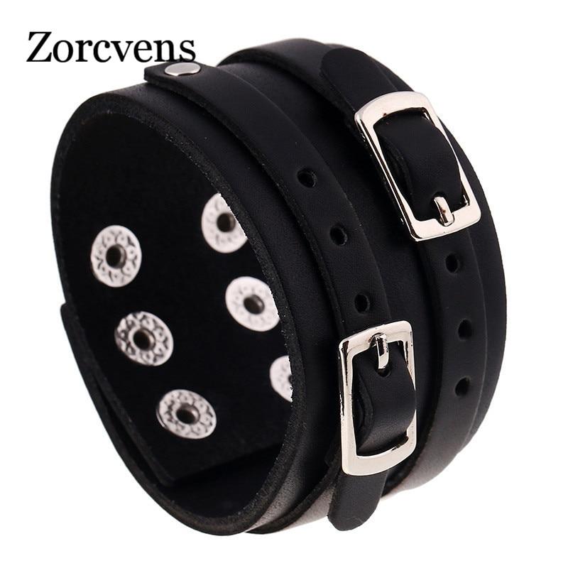 ZORCVENS 2020 широкий браслет для мужчин из натуральной кожи браслет двухслойный ремень пряжка Кнопка браслет bracelets for button braceletsnap button bracelet   АлиЭкспресс