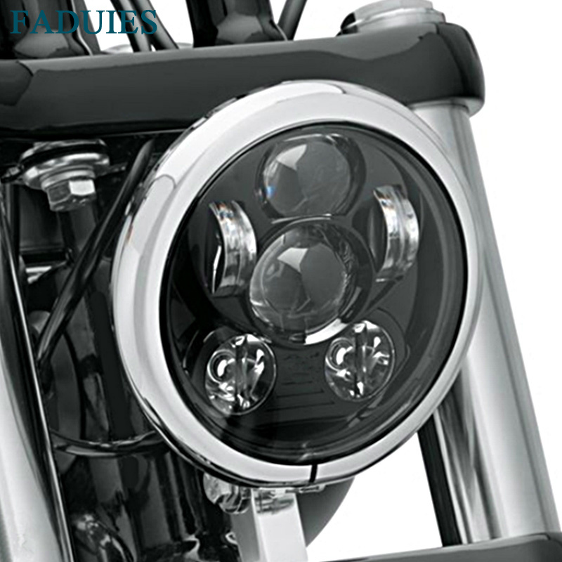 "FADUIES Black 5.75 inch 45W Round LED Headlight for Harley Davidson Motorcycles Led Lights 5-3/4"" Motorcycle LED Lamp Headlight"