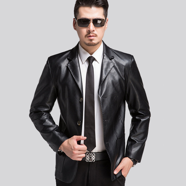 The New Spring 2017 Men's Leather Jackets High Quality Sheepskin Leather Middle-aged Man Short Fur Coat