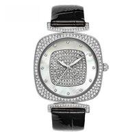 Новый большой женские кварцевые часы женщина Полный алмаз модные часы женский кожаный браслет водостойкие лучший бренд класса люкс настол