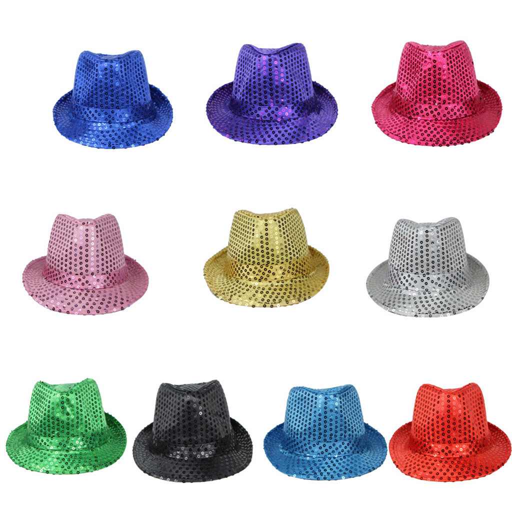 Hawcoar New Fashion Sequin Jazz Hat Trilby Fedora Caps Dance Show Glitter Party Fancy Dress Cute casquette кепка Z5