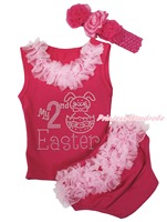 Pink Top Lacing My 2ND Easter Bunny Egg Girls Newborn Baby Ruffle Bloomer NB 12M