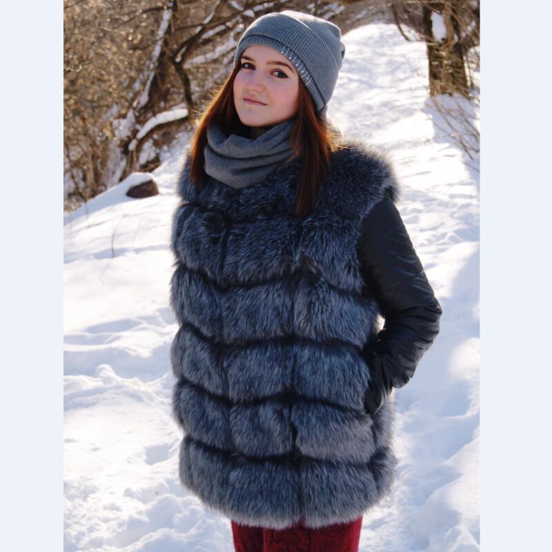 SWENEARO 2019 New High Quality High Imitation Silver Fox Fur Coat PU Sleeves Warm Winter Coat