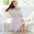 Mujeres de gran tamaño Camisón Camisón de Dormir Pijamas Con Cuello En V Otoño primavera de manga larga 100% Algodón Camisón de La Princesa