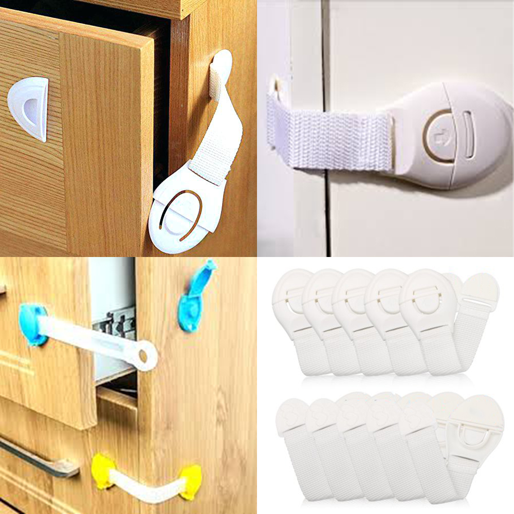 10Pcs Kids Cabinet Lock Child Safety Protection Cupboard Doors Lockers Baby Drawers Refrigerator Toilet Plastic Stripes Latches