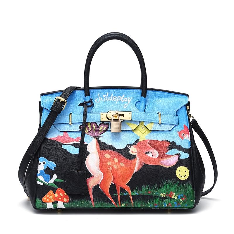 2017 Fashion Women's Cowhide Leather 25-50cm Graffiti Hand Painting Cute Sika Deer DIY Cartoon Handbags Real learher Ladies gift