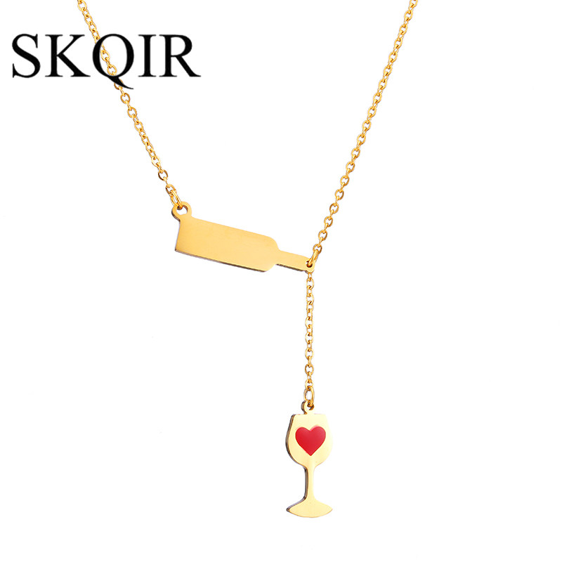 SKQIR Women's Fashion Love Wine Necklaces Pendants Gold/Silver Color Can Engrave Red Enamel Heart Chain Necklace Jewelry