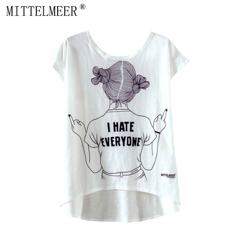 MITTELMEER New kawaii t Shirt Women harajuk Crew Neck Top Short Sleeve Girl irregular T-Shirt Summer Tee For Ladies