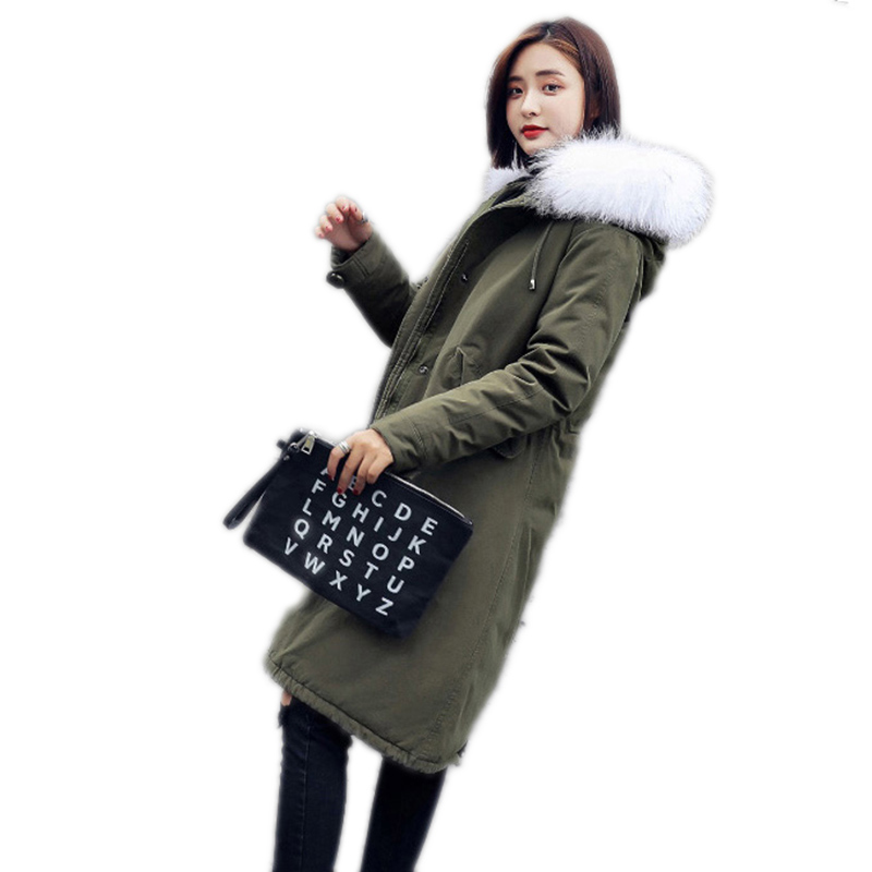 Winter Women   Down     Coat   2018 Solid Color Mid-long Lady Outerwear Upscale Thickening Hooded Fur Collar Warm Female Overcoat Ll692