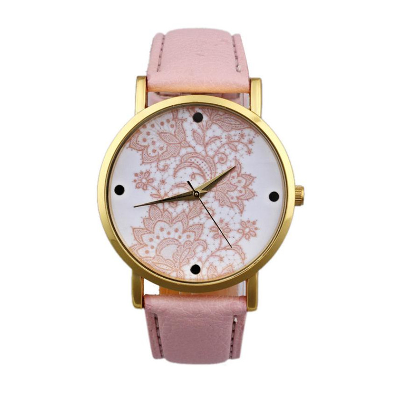 Superior relogio feminino clock  Women Round Lace Printed Faux Leather Quartz Analog Dress Wrist Watch Gift Dec 27