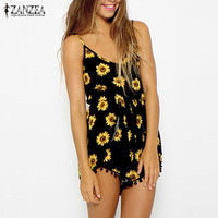 Zanzea Fashion 2015 Sexy Women Straps Sunflower Print Jumpsuits Casual Vintage Short Rompers Womens Jumpsuit Plus