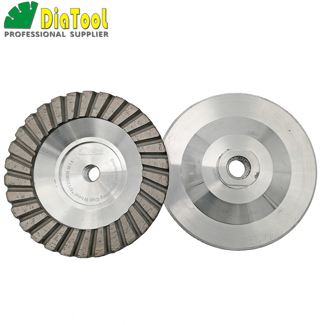 DIATOOL 2PK Dia 125mm/5inch Aluminum Based Diamond Grinding Cup Wheel M14 thread Grit #30 Grinding Wheel For Granite Concrete [m14 thread] 5 ncctec diamond aluminum matrix sintered grinding disc 125mm stone turbo grinding cup wheel free shipping