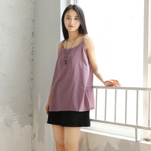 2016 Women Loose Spaghetti Strap Tanks Camis spring and summer Solid color cotton Linen literary Female