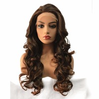 StrongBeauty Synthetic Lace Front Wigs Long Curly Black/Strawberry blond Natural Hair Heat Resistant Fiber Cosplay Wigs