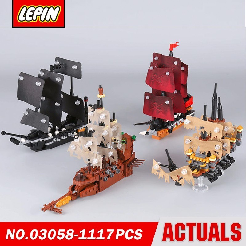Lepin 03058 Pirate Ships Black Pearl Silent Marry Queen Anne Revenge Dutchman Movie Series Model Building Block Brick Gift new lepin 16009 1151pcs queen anne s revenge pirates of the caribbean building blocks set compatible legoed with 4195 children