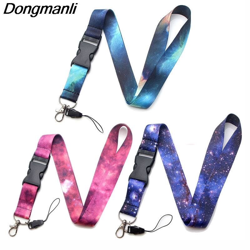 P2805 Dongmanli Starry Night Sky Lanyard Badge ID Lanyards/ Mobile Phone Rope/ Key Lanyard Neck Straps Keychain