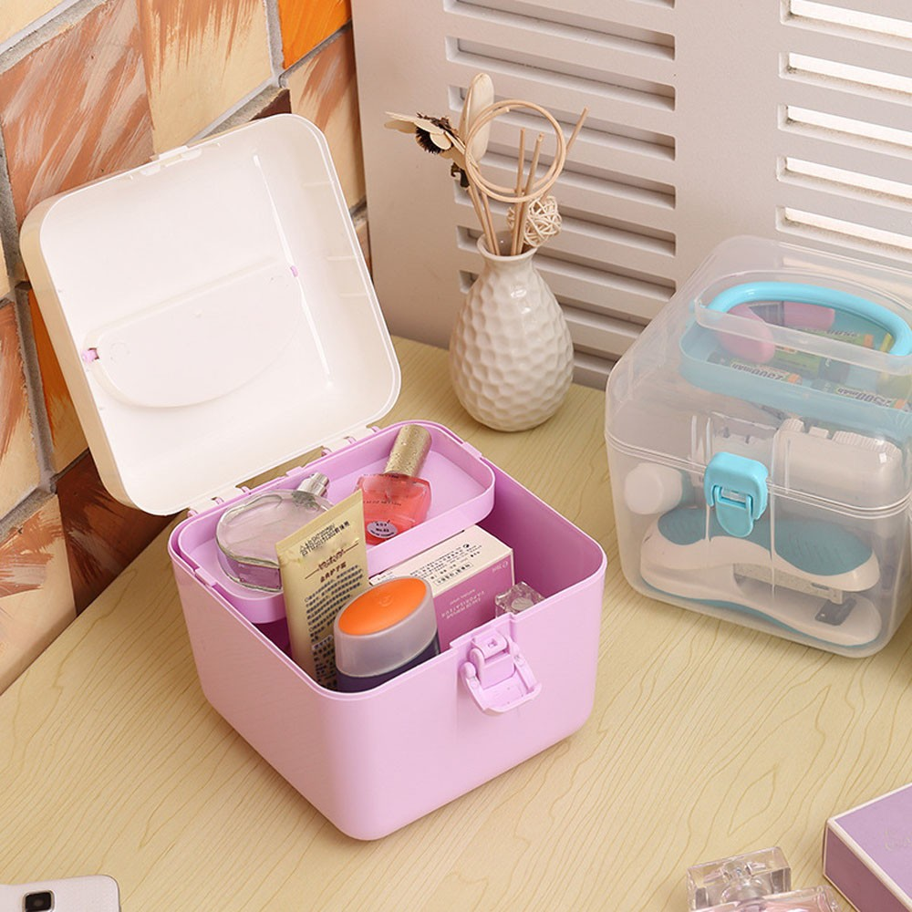 Portable cosmetic Storage Boxes Plastic With Lid Colorful Transparent Storage Case Collection Container Case