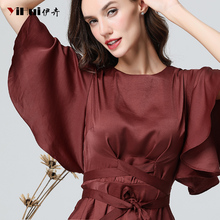 High Street Summer Women Bat Wing Sleeved Satin Blouse Peplum Top With Sashes Tie Up Solid Color Elegant Suitable Size Blouses bat wing sleeve loose tie dyed blouse