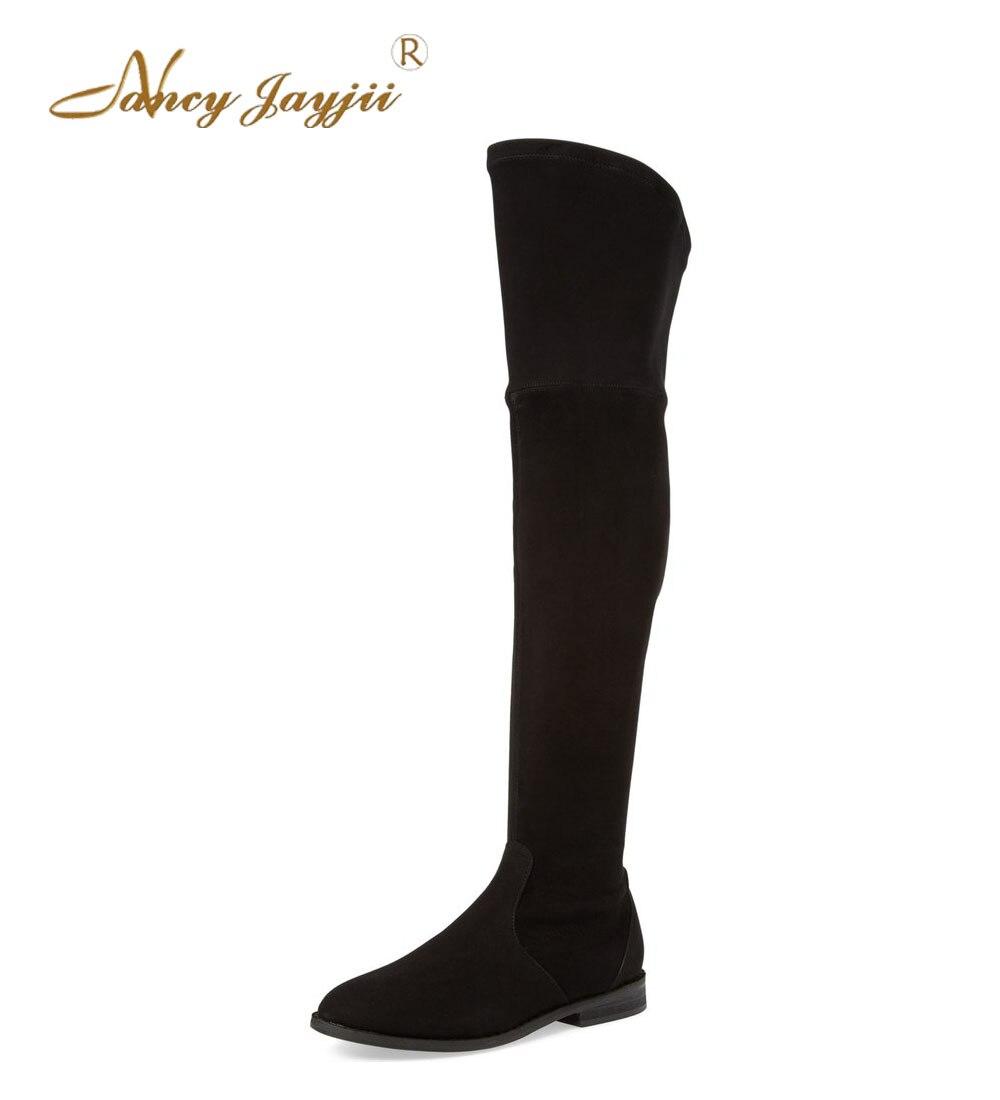 8c86c37f € 93.01 25% de DESCUENTO|Botas de mujer sin tacón de invierno/primavera  negro y marrón con flecos con tacones de rodilla botas altas para mujer ...