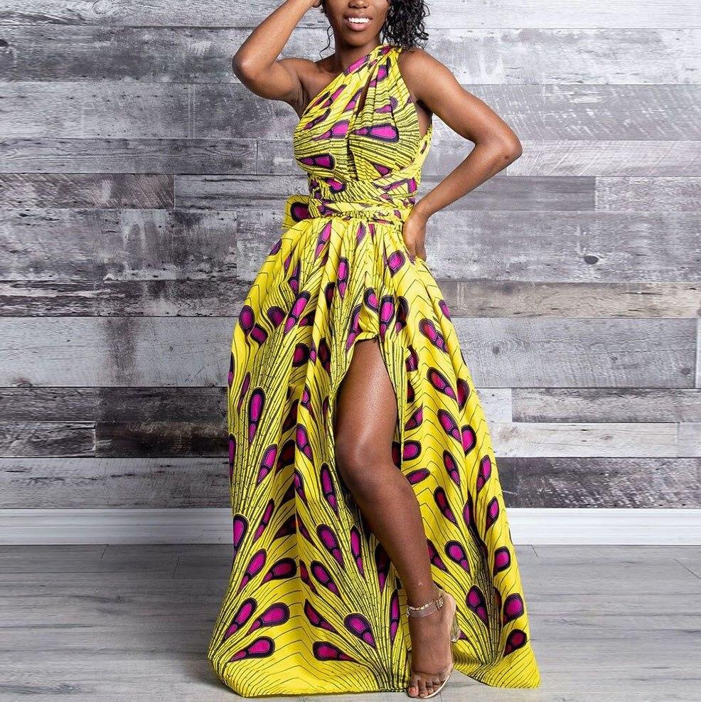 Printed Colourful Sling Dress High Waist Cross Bow Tie Dresses Loose High Waist Maxi Dress