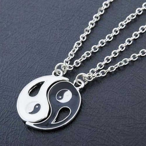 2 sztuk czarny biały Yin Yang wisiorek bez wypełnienia naszyjnik para siostra przyjaciel biżuteria