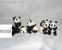 mini pvc figure Simulation Animal Model Round pandas model 5pcs/set