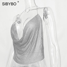 Sibybo Halter Handmade Shiny Rhinestones Crop Top Backless Summer Beach Chic  Party Bralette Cropped Sexy Women Tank Top