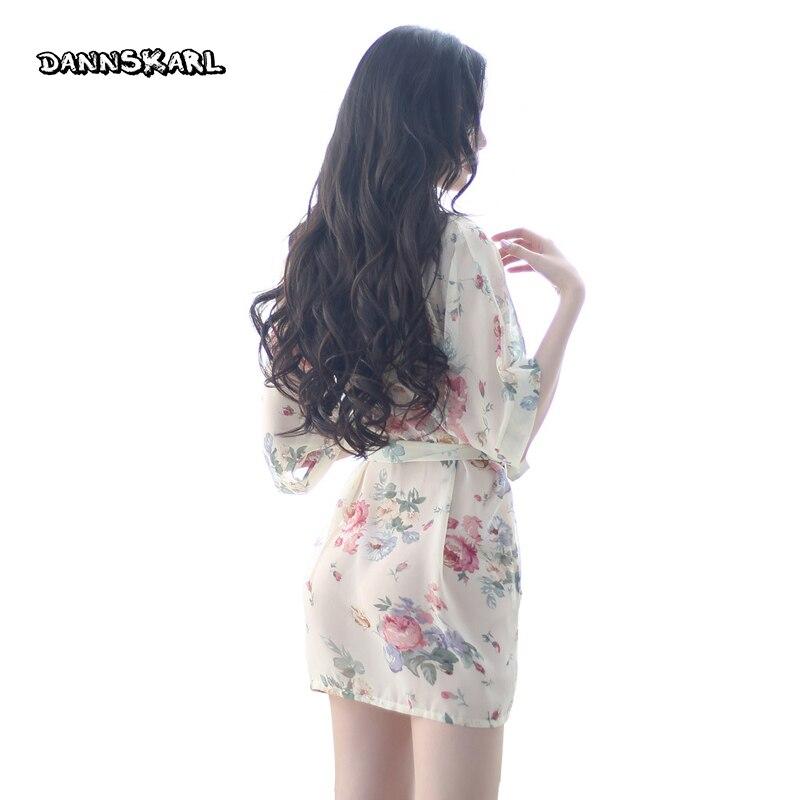 2732a58701988 DANNSKARL mode femmes peignoir de bain 2017 marque été Faux soie Floral  dame peignoir femme vêtements de nuit mères sommeil Kimono L XL dans Robes  de ...