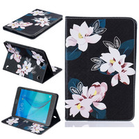 Flower Painting Stand Flip Pu Leather Case For Samsung Galaxy Tab A 8 0 T350 T355