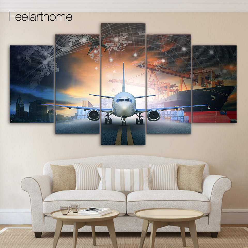 Aliexpress Com Buy 5 Piece Canvas Art Plane Poster
